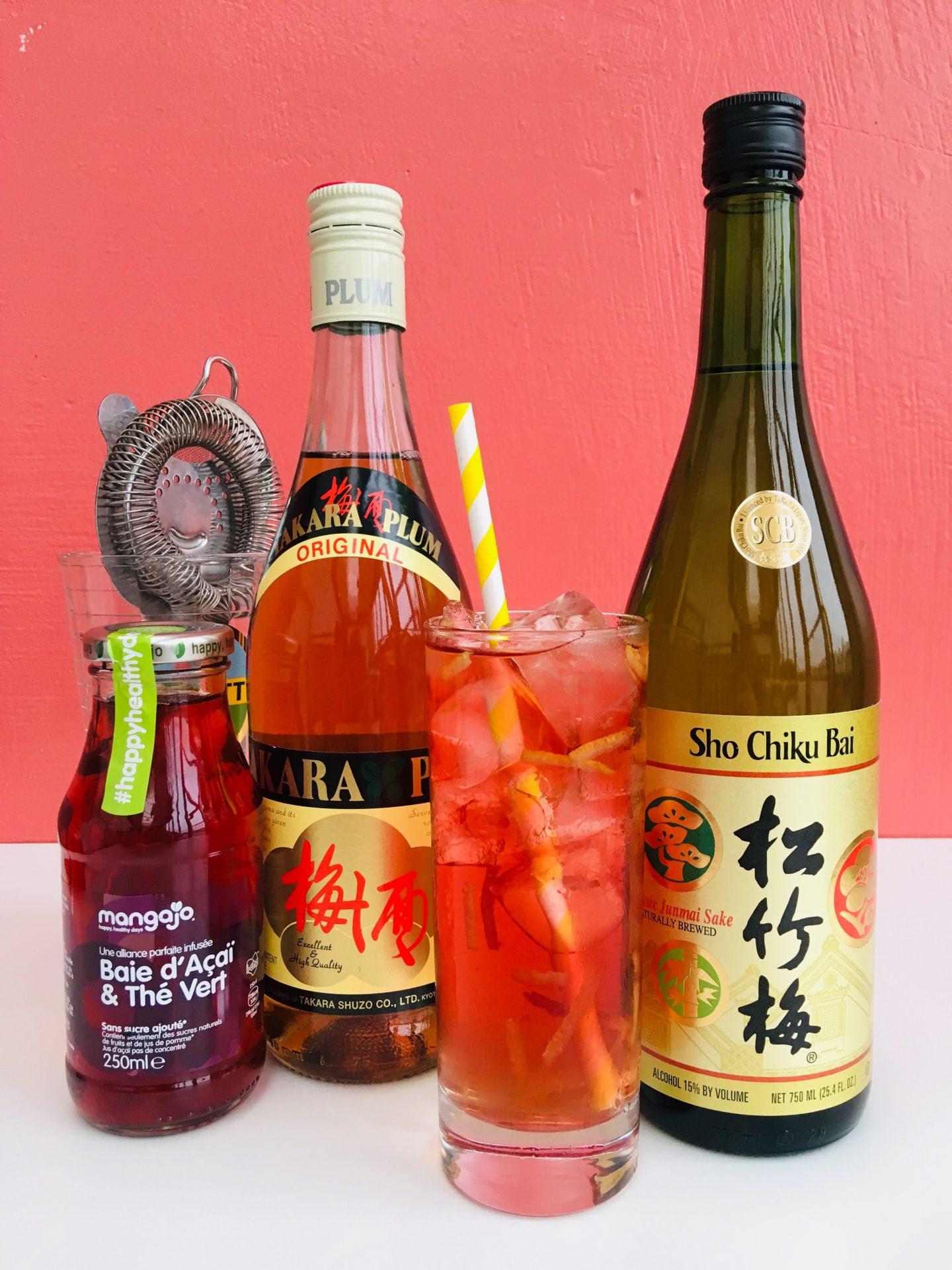 Cocktail saké avec umeshu classic junmai et infusion Mangajo