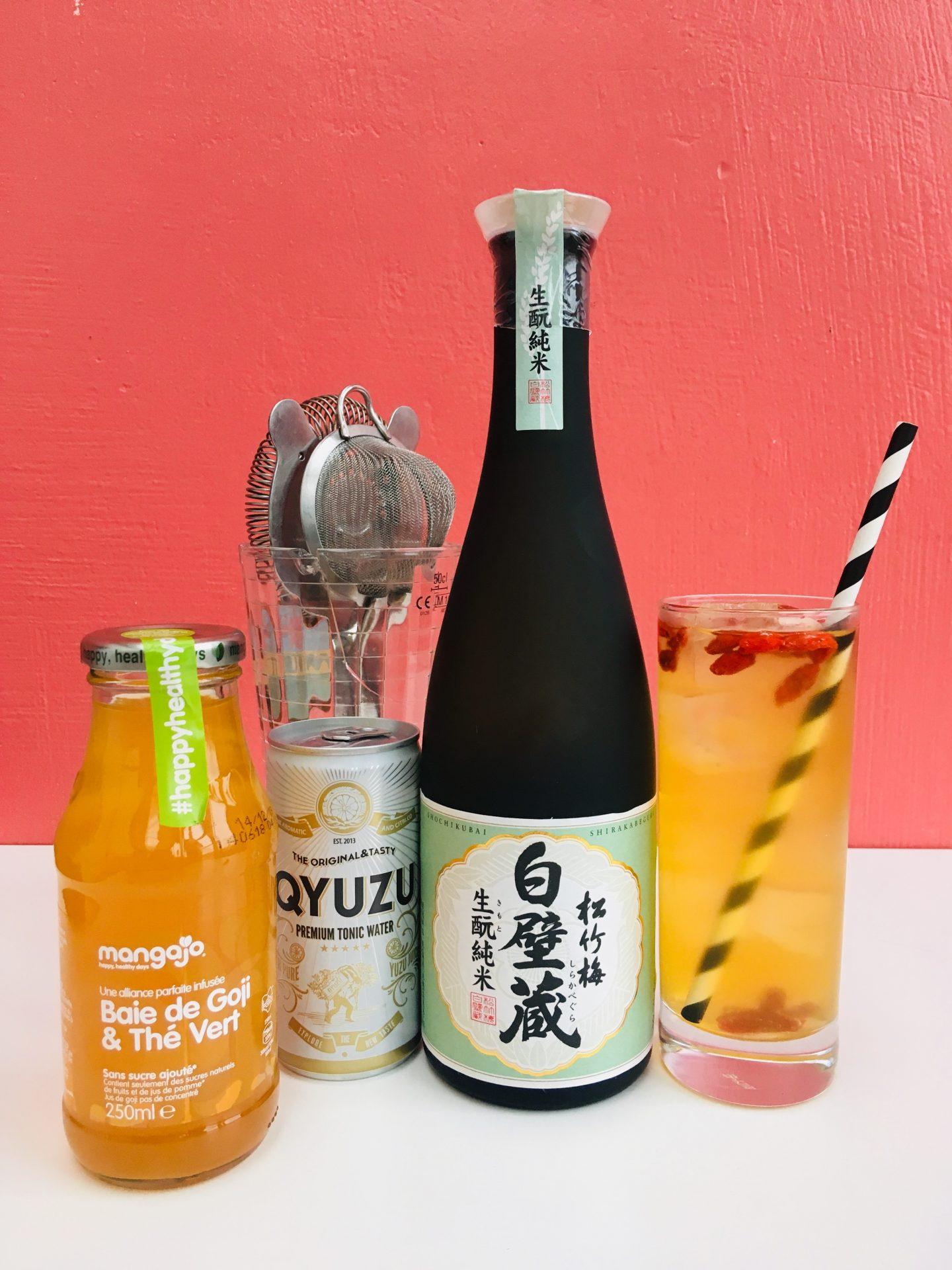Saké cocktail avec Shochikubai Kimoto Qyuzu et infusion Mangajo