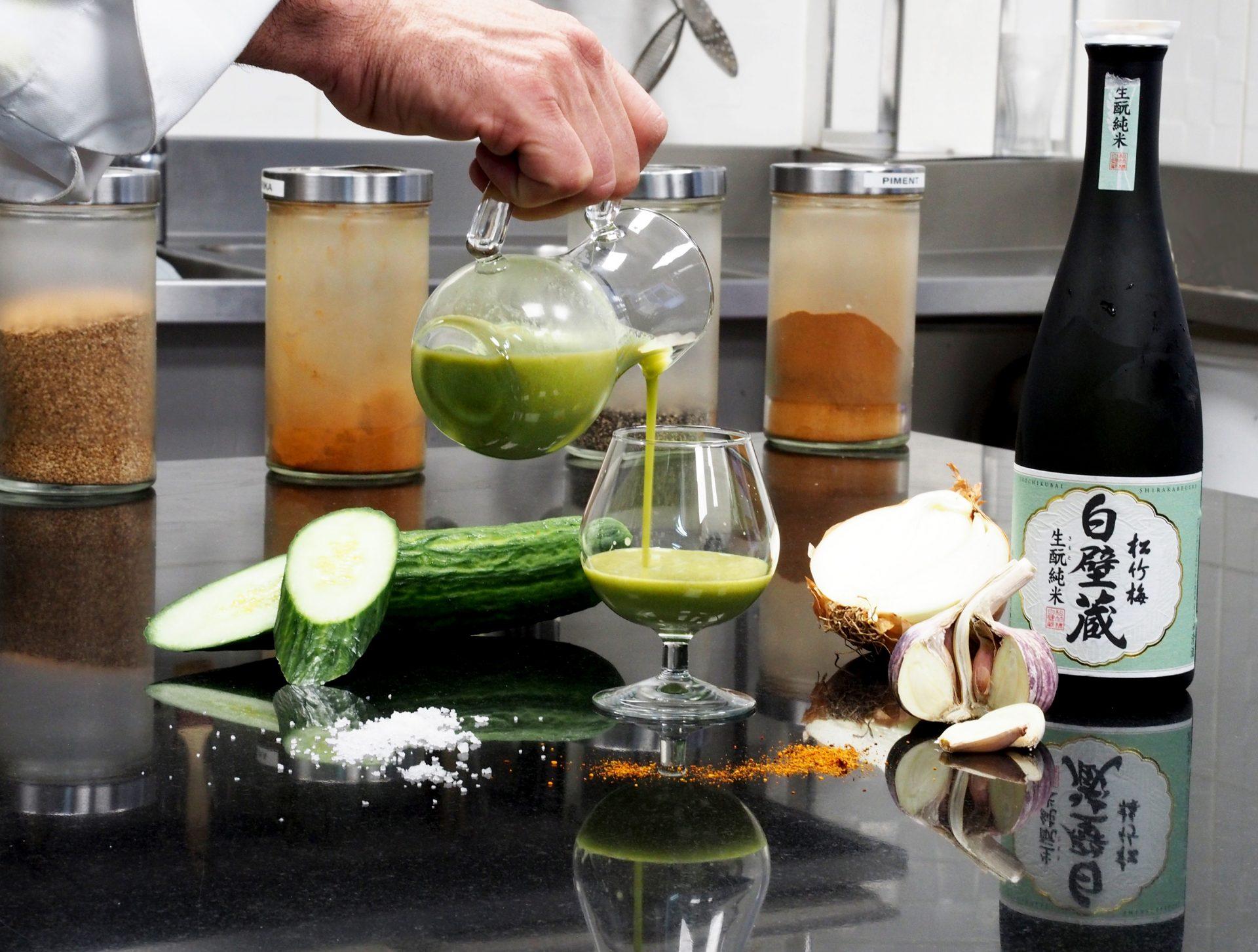 Le saké cocktail avec Shirakabegura Kimoto de la Braisiere par Jacques Faussat